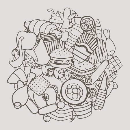 comida chatarra: Monocromo dibujado a mano del Doodle Conjunto de la historieta del tema de la comida. Ilustración del vector de imagen. Vectores