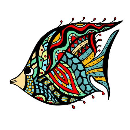 peces: Fish estilizada. Mano doodle ilustraci�n vectorial aislados en fondo blanco.