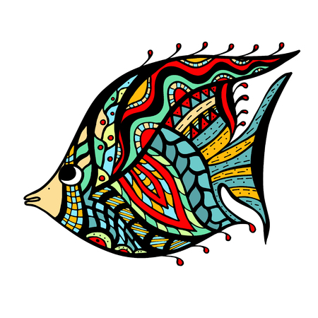 fish type:   stylized Fish. Hand Drawn doodle vector illustration isolated on white background.