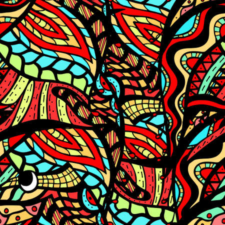 waves: colorful seamless abstract hand-drawn pattern, waves background