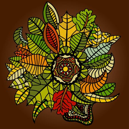 tree isolated: Big set of autumn leaves of different tree species. Hand drawn Sketch. Vector illustration. Illustration