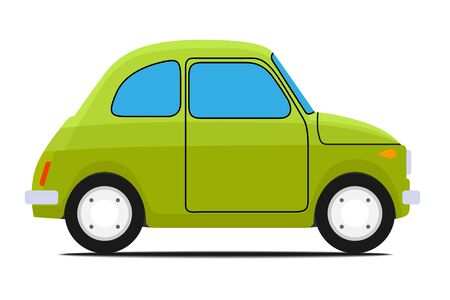 cars race: Green Old car. Isolated on whit background