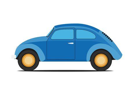 Blue Old car. Isolated on whit background Illustration