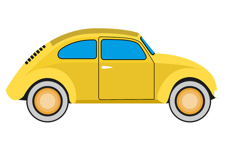 Yellow Old car. Isolated on whit background