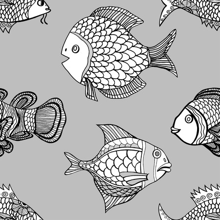 peces payaso: Anemonefish payaso modelo monocrom�tico incons�til del vector. Mano doodle Vectores