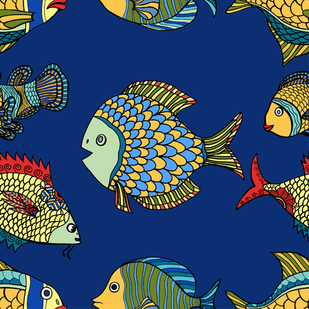 abstract animal: fish blue seamless vector pattern. Hand Drawn doodle Illustration