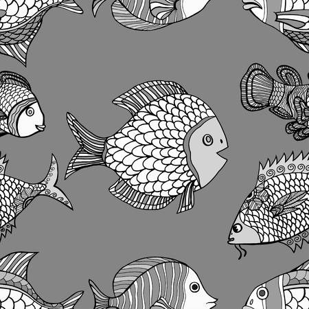 anemonefish: Anemonefish Clownfish monochrome seamless vector pattern. Hand Drawn doodle