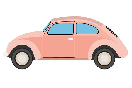 tuned: Pink Old car. Isolated on whit background