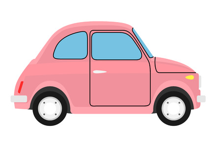 autosport: Pink Old car. Isolated on whit background