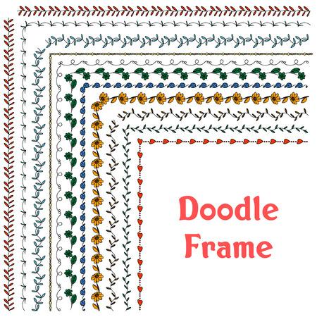 leaf line: Hand drawn vector line border set and design element Illustration