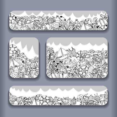 grape snail: Monochrome Vector banner templates set with doodles summer theme