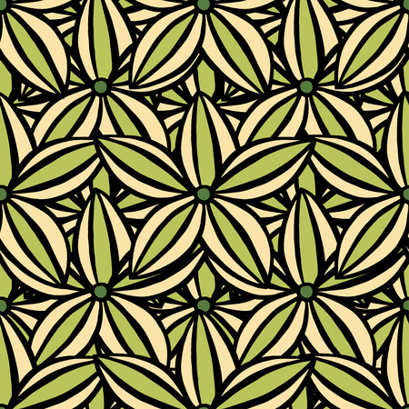 scarlet: Vector creative hand-drawn abstract seamless pattern of stylized flowers in of green and scarlet