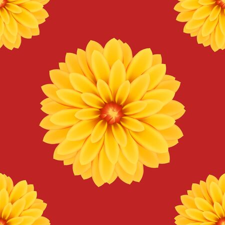 dalia: floral yellow Dalia flowers seamless pattern. vector illustration