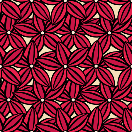 scarlet: Vector creative hand-drawn abstract seamless pattern of stylized flowers in of red and scarlet Illustration