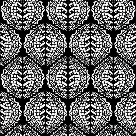vitrage: Vector Seamless Abstract Black and White Tribal Pattern. Hand Drawn Ethnic Texture, Flight of Imagination