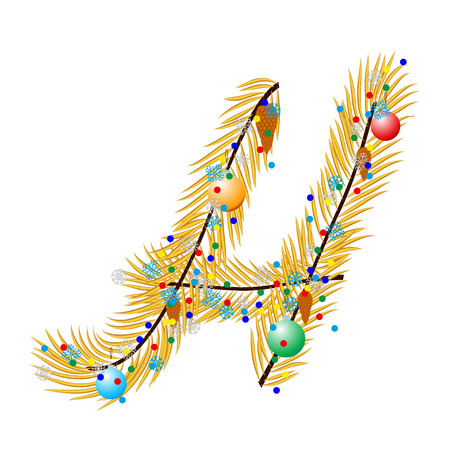 char: H - Letter. Made of a Christmas tree with festive decorations. Isolated on white Illustration