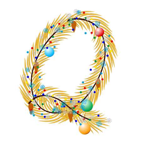 char: Q - Letter. Made of a Christmas tree with festive decorations. Isolated on white