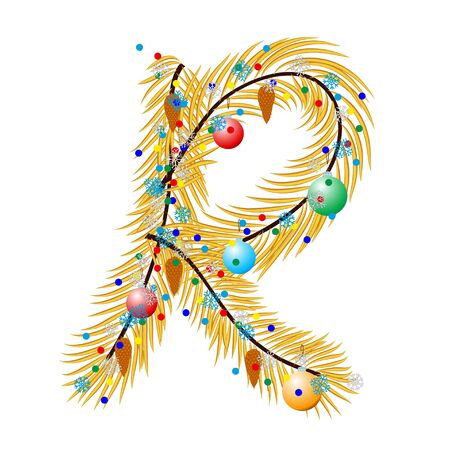 char: R - Letter. Made of a Christmas tree with festive decorations. Isolated on white Illustration