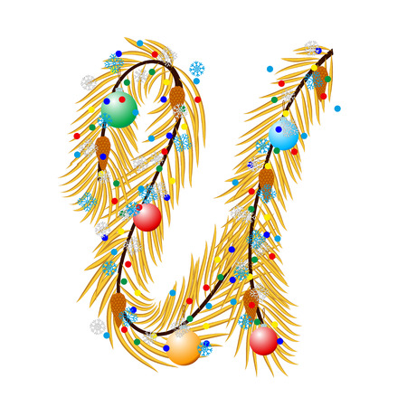 u letter made of a christmas tree with festive decorations isolated on white - Christmas Letter Decorations