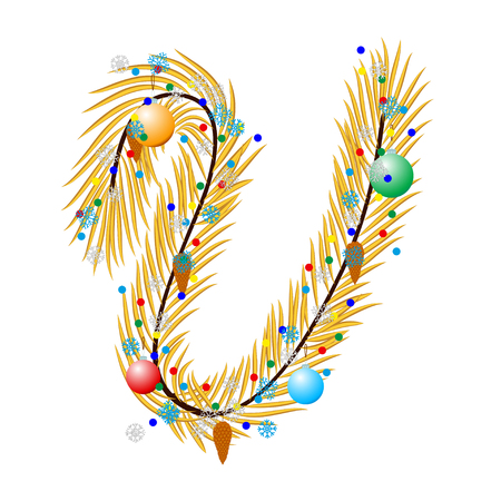 pine boughs: V - Letter. Made of a Christmas tree with festive decorations. Isolated on white