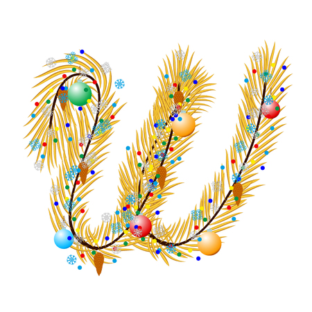 char: W - Letter. Made of a Christmas tree with festive decorations. Isolated on white Illustration