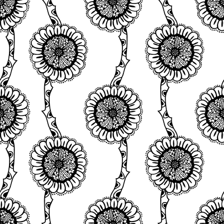 tribales: Estampado de flores de fondo sin fisuras del doodle en el vector. Diseño asiático, patrón étnico, tribal. Fondo blanco y negro. Libro de colorear. Zentangle Girasol