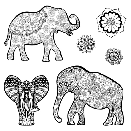 Set of Vector drawing of a elephant with ethnic patterns of India. On the grange background. Image as a tattoo. Illustration