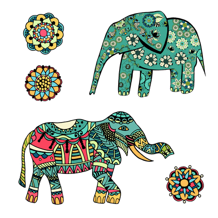 indian elephant: Set of Hand drawn stylized elephant with decorative tribal ethnic ornament. Graphics for t-shirt, poster, isolated element for invitation or card design, tattoo style, colorful vector illustration