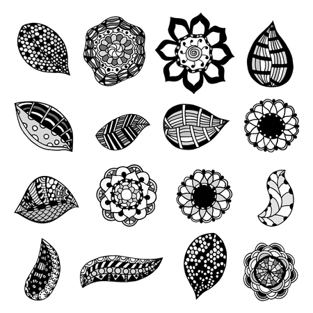 sketchy: set of sketchy monochrome doodle flowers and leafs. Vector illustration Illustration