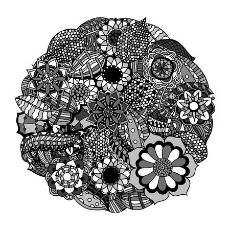 circle flower: Black and white circle flower ornament, ornamental round lace design. Floral mandala.