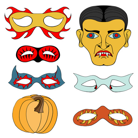 clipart frankenstein: Set of Halloween colored mask. Vector illustration. Isolated on white