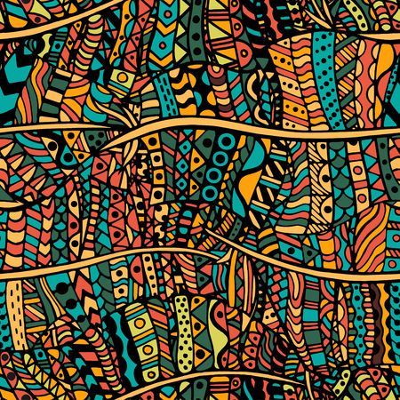 artistically: Colored Artistically ethnic pattern. Hand-drawn, ethnic, floral, retro, doodle, vector, zentangle tribal design element. Pattern for coloring book.