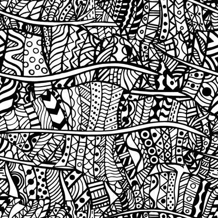 dessin noir et blanc: Artistiquement motif ethnique. Dessinée à la main, ethnique, floral, rétro, griffonnage, vecteur, zentangle tribale élément de design. Motif pour le livre de coloriage.