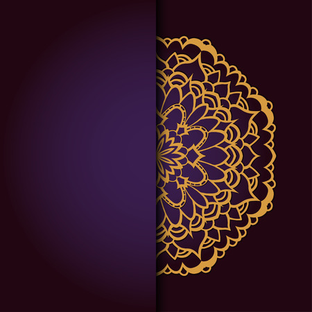 luxury template: Abstract vector circle floral ornament. Lace pattern design. Vintage ornament on background. Vector Illustration Illustration