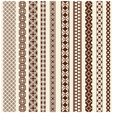 borders: Indian Henna Border decoration elements patterns in brown colors. Popular ethnic border in one mega pack set collections. Vector illustrations.Could be used as divider, frame, etc Illustration