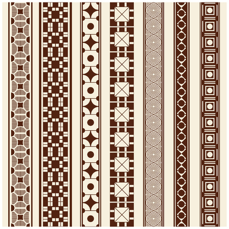 bollywood: Indian Henna Border decoration elements patterns in brown colors. Popular ethnic border in one mega pack set collections. Vector illustrations.Could be used as divider, frame, etc Illustration