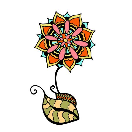 sketchy: Sketchy colored doodle flower. Vector illustration