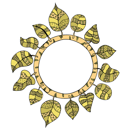 rimmed: Beautiful round frame of doodle leaves