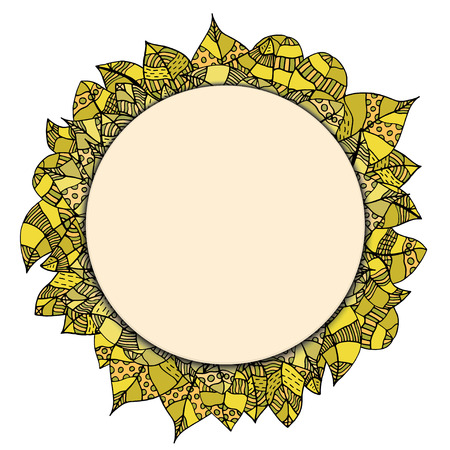 rimmed: Beautiful round papper frame on leaves. Vector illustration