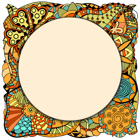 ornamental garden: Beautiful round papper frame on leaves and flower. Vector illustration