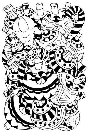 gente adulta: Conjunto de juguetes de la Navidad dibujado a mano elementos decorativos. Fantasía árboles de Navidad, bolas, estrellas. Patrón de libro para colorear. Modelo blanco y negro. Boceto de traza. Vectores