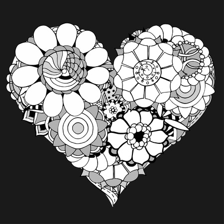 flower heart: Hand drawn Heart of flower doodle background. Vector illustration