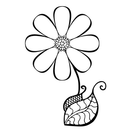 Hand Drawn Sketch of abstract flower. Vector Illustration