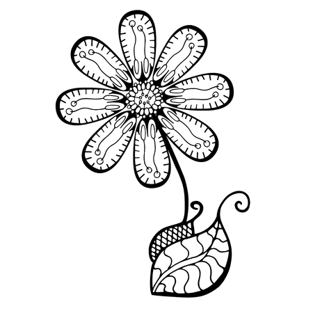 frond: Hand Drawn Sketch of abstract flower. Vector Illustration