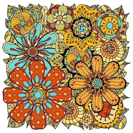 cover art: Ethnic colored floral zentangle, doodle background pattern circle in vector. Henna paisley mehndi doodles design tribal design element. Illustration