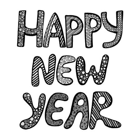 Monochrome Happy New Year Fun Doodle Lettering On White Background ...