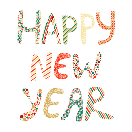 Happy New Year Fun Doodle Lettering On White Background Royalty Free ...