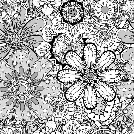 the contour: Seamless Contour Floral Pattern.  Illustration