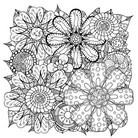 민족 꽃 zentangle, 벡터 낙서 배경 무늬 원. 헤나 페이 즐 멘디한다면 디자인 부족 디자인 요소입니다. 성인과 아이들을위한 색칠하기 책에 대한 흑백 패