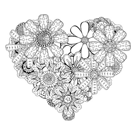 Monochrome Heart of flower doodle background. pattern for coloring book. Vector illustration